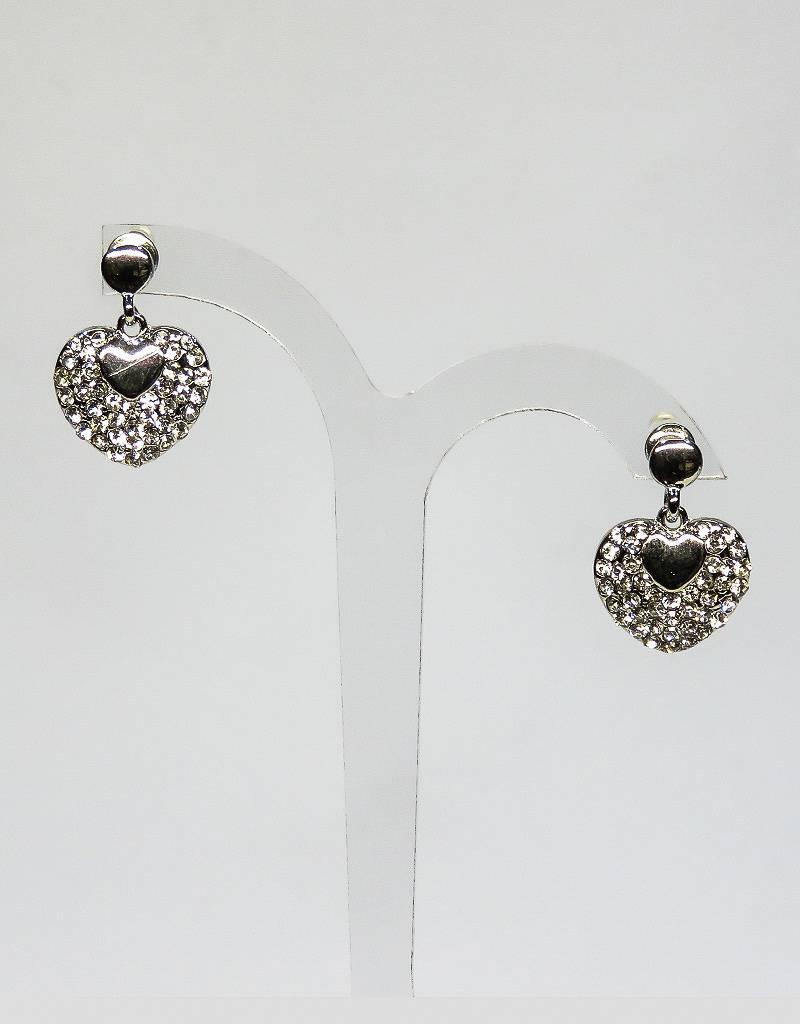 Prachtige zilver strass hartjes oorbellen