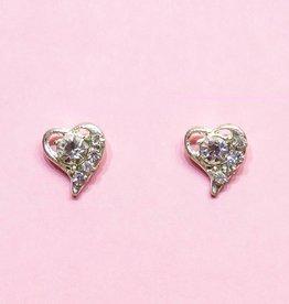 Hart vormige zilveren stekers oorbellen
