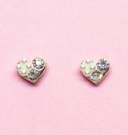 Zilveren hart strass oorbellen