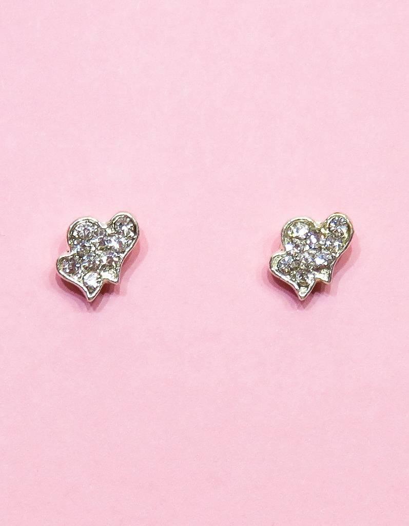 Oorbellen met dubbel hartjes en met strass steentjes