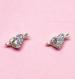 Zilveren oorstekers met strass steentjes