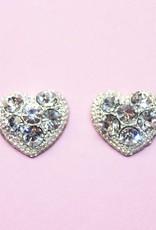 Strass hart oorbellen met 6 strass stenen