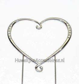 Zilver plated  hart bruidstaart topper