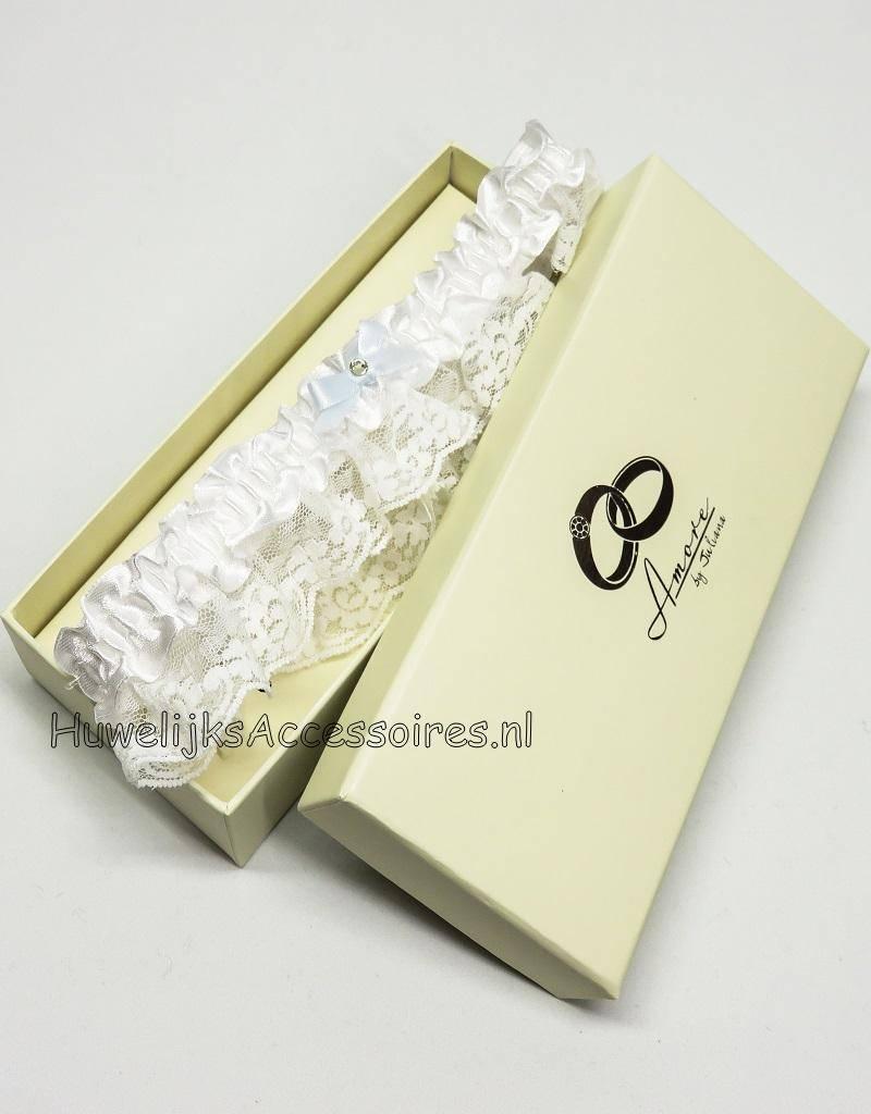 Witte romantische kousenband met strikje
