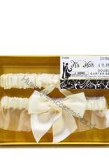 Crème organza en crème satijn kousenbandje set