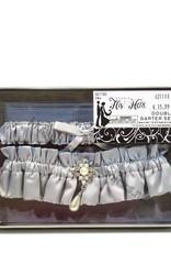 Zilver grijs satijn en strass kousenbandje set