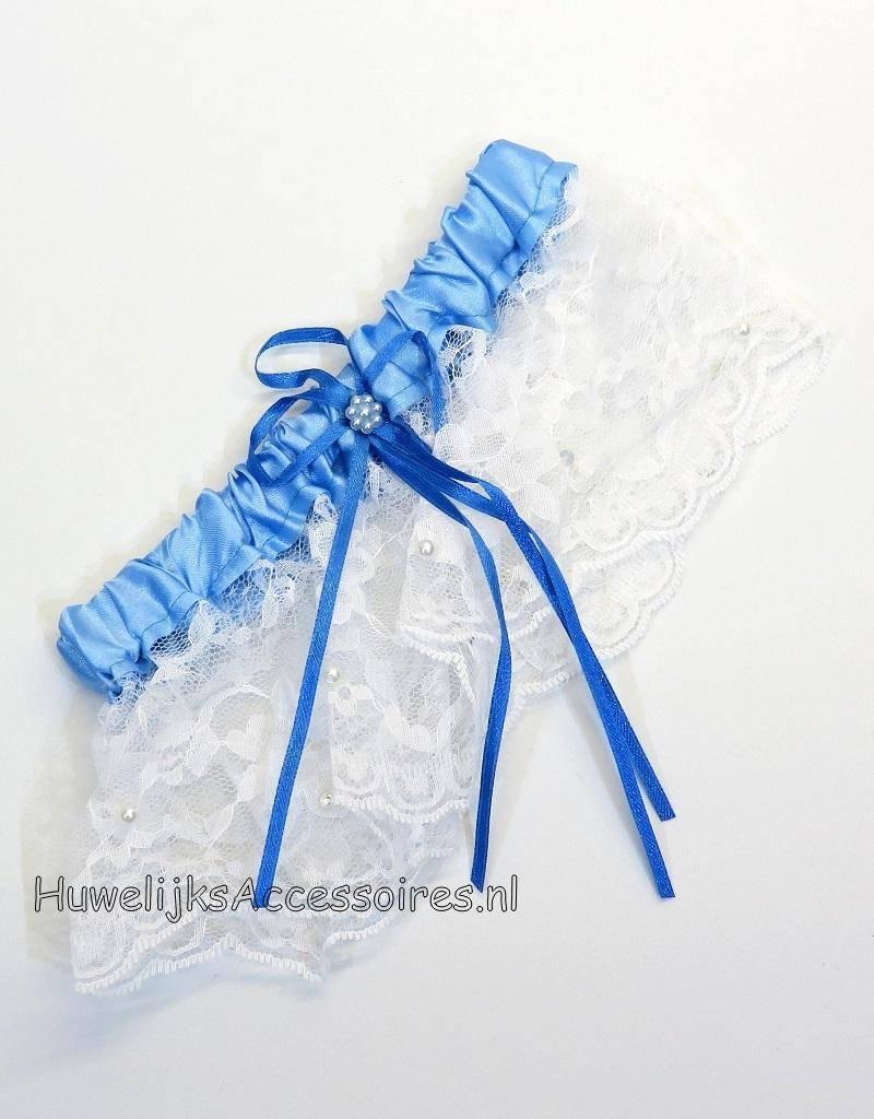 Kousenband blauw en wit met blauw strik