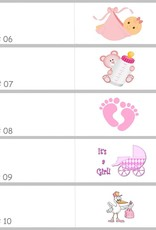 Baby shower bedankjes met roze baby's met een bal