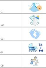 Bedankjes met baby's op een blauwe rij wagentjes