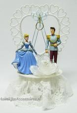 Prinses Cinderella en Prins Charming trouwtaart topper