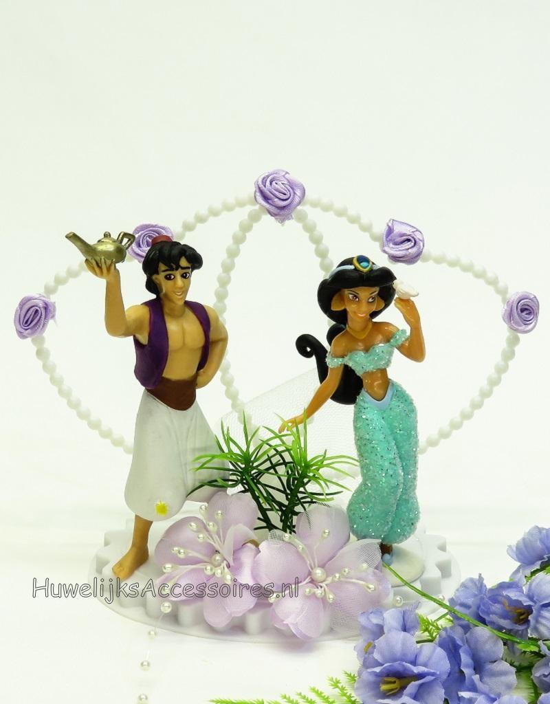 Aladdin met Jasmijn huwelijks taarttopper