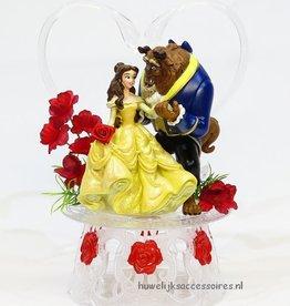 Romantische taarttopper met Belle en het Beest