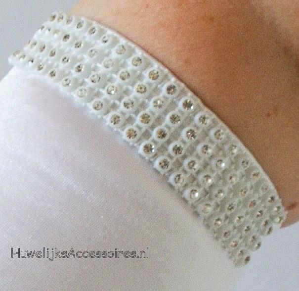 Witte glanzend bruidshandschoenen met strass steentjes