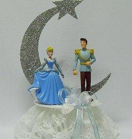 Prinses Cinderella met Prins bruidstaart topper