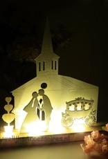 Bruid en bruidegom trouw decoratie met licht