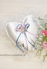 Disney Disney Stitch & Angel op een witte trouwring kussen met kant