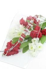 Zilver armband met rood en zilver kralen