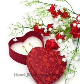 Rood hartvormig trouwringen doosje