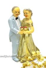 Gouden bruiloft bruidspaar taarttopper