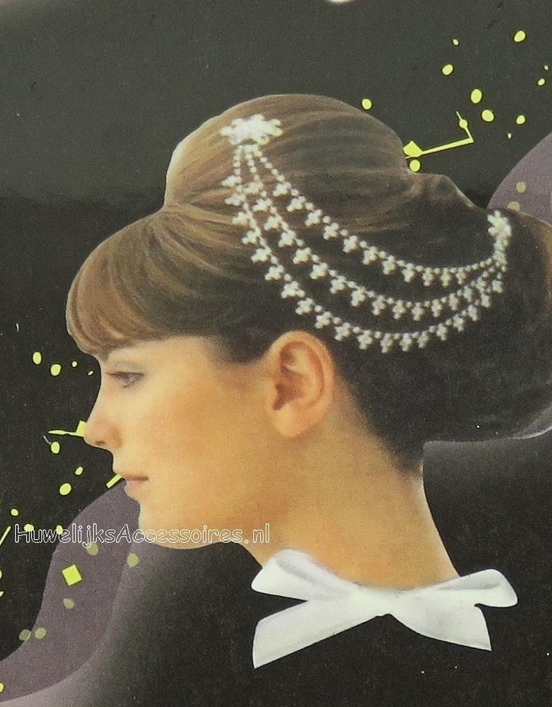 Schitterende bruids haarversiering met strass stenen