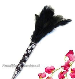 Bruiloft pen met zwarte veren
