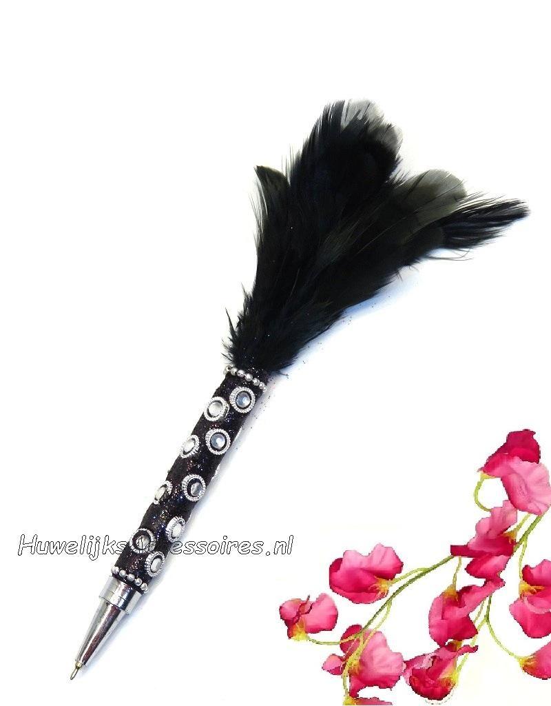 Prachtige veerpen versiert met zwart glitter