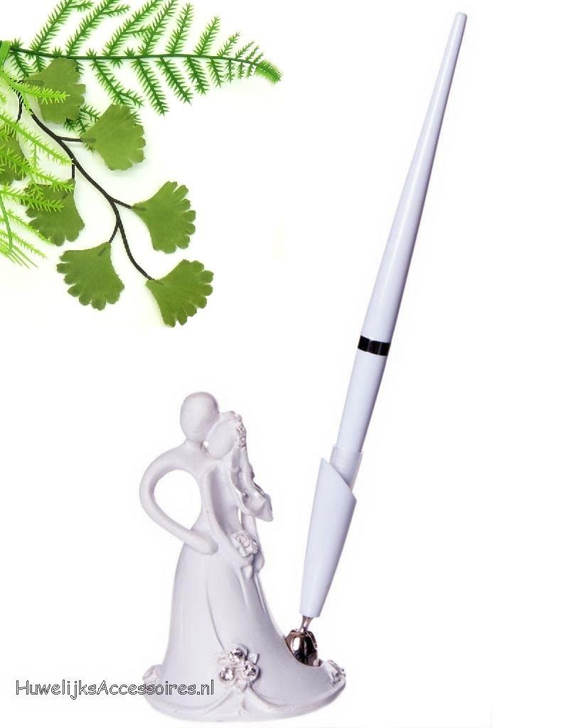 Zeer mooie bruidspaar receptie pen met houder set