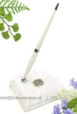 Huwelijks pen met houder en strass stenen met veren