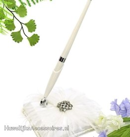 Huwelijks pen met houder en strass stenen