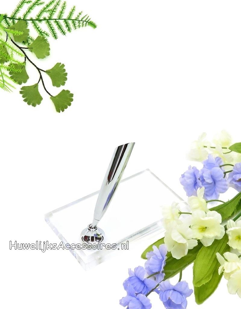 Langwerpige luxe transparante pen houder