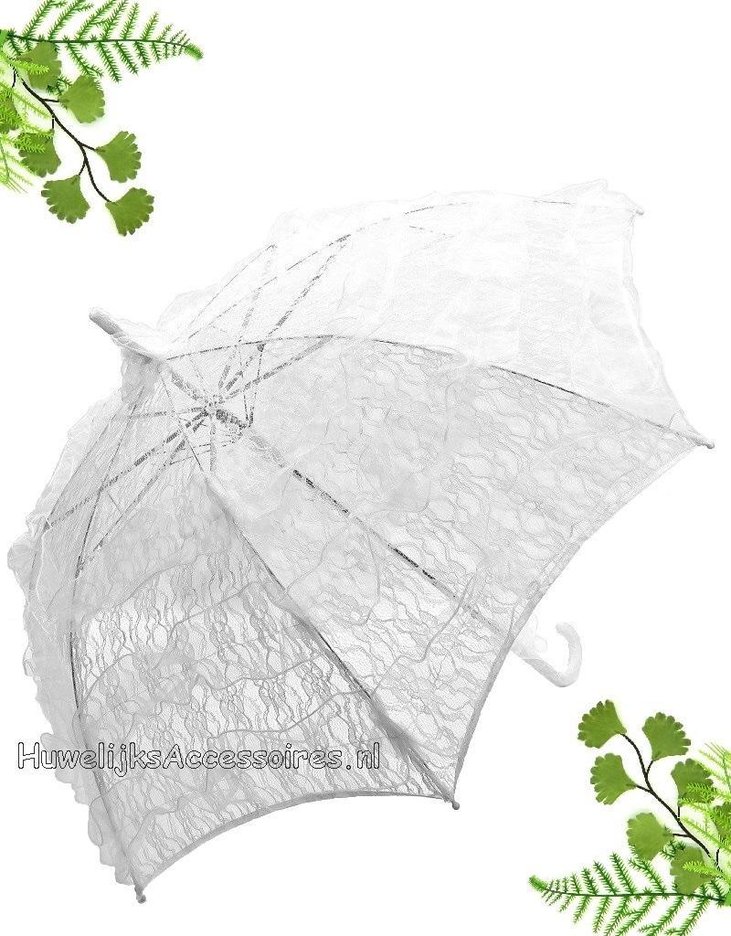 Deluxe witte kant bydemeyer paraplu