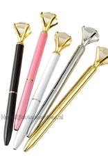 Prachtige gouden receptie pen met een grote kristal