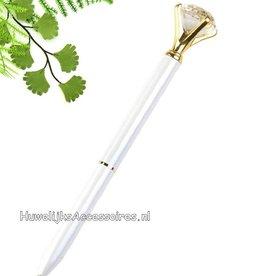Zeer mooie witte receptie pen met kristal