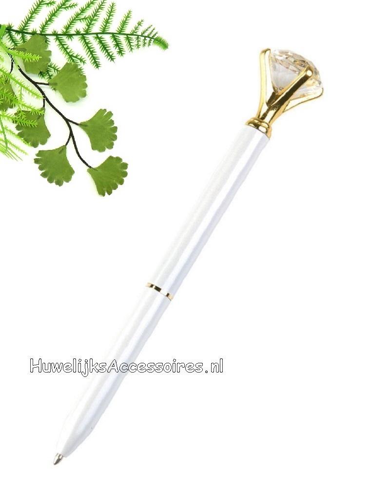 Prachtige wit receptie pen met een grote kristal