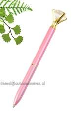 Zeer mooie roze receptie pen met een grote kristal