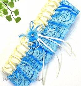 Crème en blauw bruids kousenband