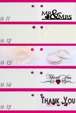 Huwelijks bedankjes taart met 2 zilveren ringen en witte roosjes