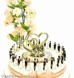 Trouw bedankjes taart met donkere bruidsparen