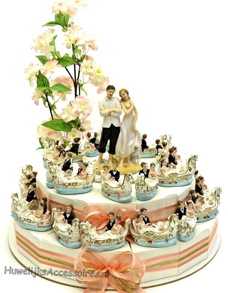 Trouwbedankjes taart versierd met Venetië gondels
