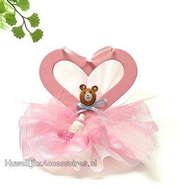 Roze hartje met beertje taarttopper