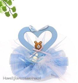 Blauw hartje met beertje taarttopper