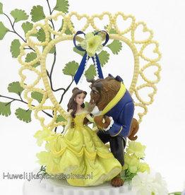 Disney Belle en het Beest bruidstaart topper - gele hart