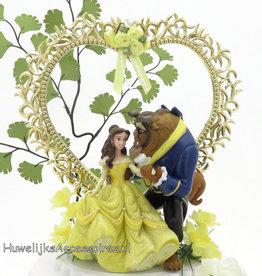 Disney Belle en het Beest bruidstaart topper - gouden hart
