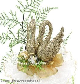 Gouden zwanenpaar taarttopper