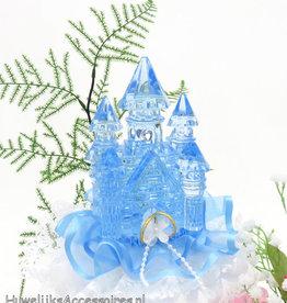Disney Blauw kristal kasteel bruiloft taarttopper