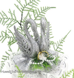 Zilver zwanenpaar taart topper