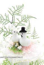 Huwelijk witte duivenpaar taart topper