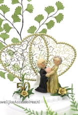 50 jaar gouden jubileum bruiloft bruidspaar taarttopper