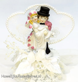 Moderne komische bruidspaar taart topper