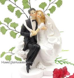 Mooie romantische bruidspaar taart topper